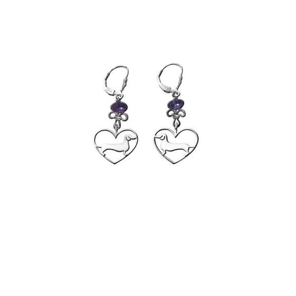 Dachshund Line Heart - Silver and Amethyst / Turquoise Dangle Earrings - WeeShopyDog