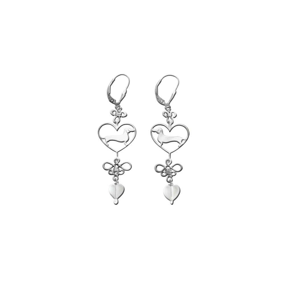 Dachshund Dangle Earrings - Silver and Heart Glass |Line Heart - WeeShopyDog