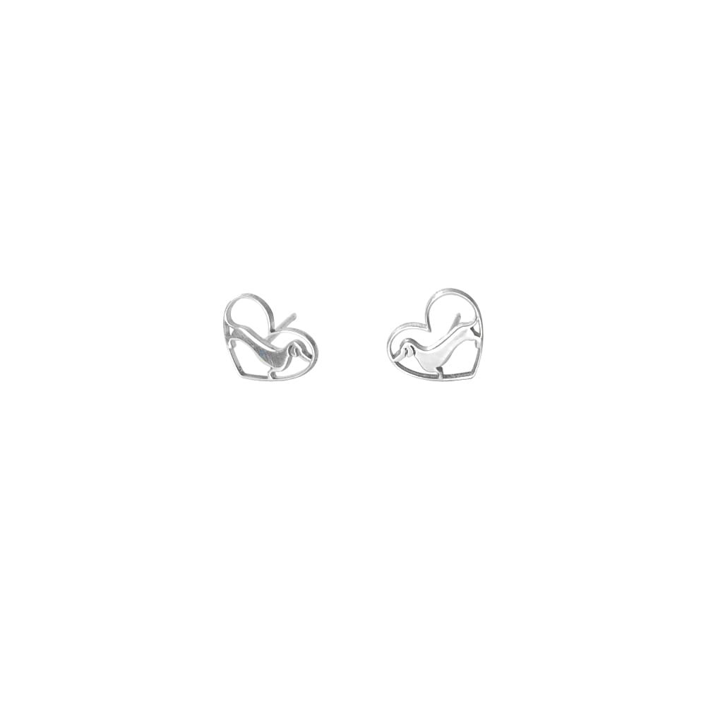 Dachshund Stud Earrings - Silver/14K Gold-Plated |Line Heart - WeeShopyDog