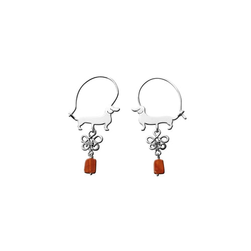 Dachshund Hoop Earrings - Silver and Carnelian |Line - WeeShopyDog
