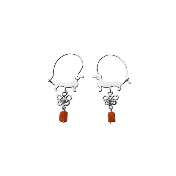Dachshund Line - Silver and Carnelian Hoop Earrings - WeeShopyDog