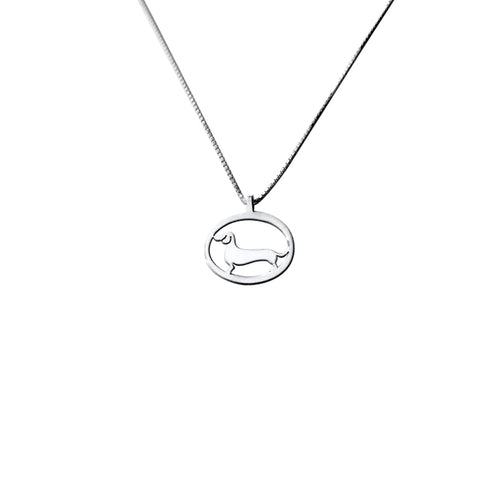 Dachshund Pendant Necklace - Silver |Line Oval - WeeShopyDog