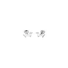 Dachshund Line - Silver Stud Earrings - WeeShopyDog