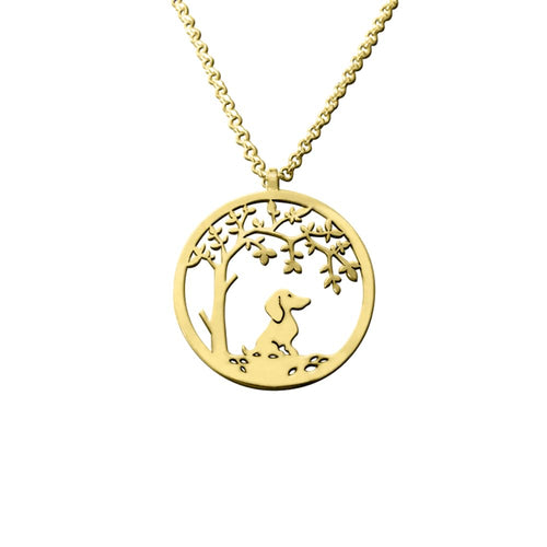 Dachshund Little Tree Of Life Pendant Necklace - 14K Gold-Plated - WeeShopyDog