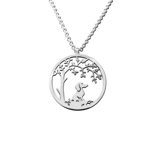 Dachshund Little Tree Of Life - Silver Pendant Necklace - WeeShopyDog
