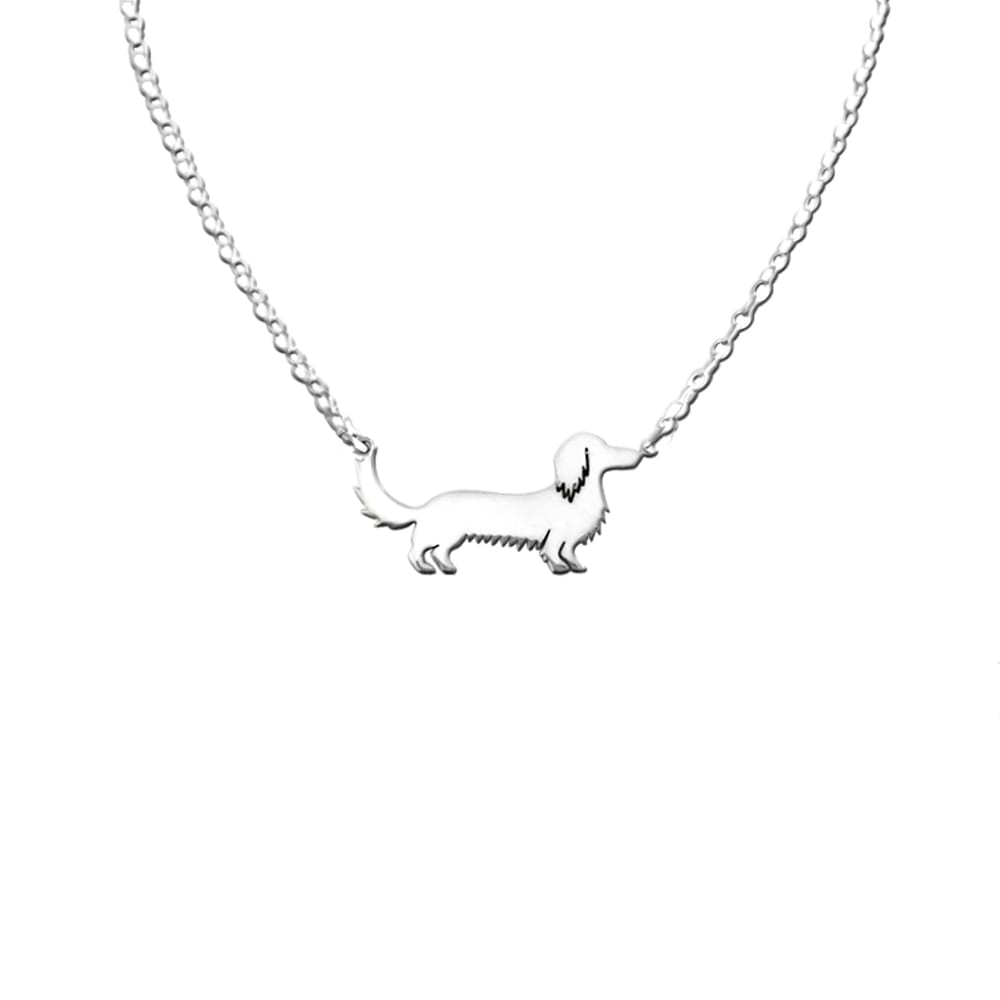 Dachshund Long Haired Pendant Necklace - Silver - WeeShopyDog