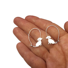 Load image into Gallery viewer, Dachshund Hoop Earring - Silver |Love - WeeShopyDog