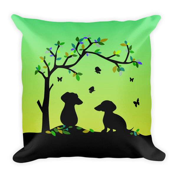 Dachshund Tree Of Life - Square Pillow - WeeShopyDog