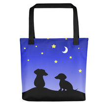 Load image into Gallery viewer, Dachshund Night Love - Color Tote Bag - WeeShopyDog