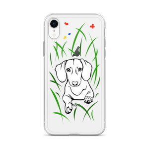 Dachshund Play Grass - iPhone Case