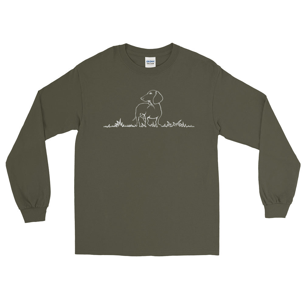 Dachshund Beauty Grass - Long Sleeve T-Shirt - WeeShopyDog