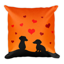 Load image into Gallery viewer, Dachshund In Love - Square Pillow - WeeShopyDog
