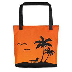 Dachshund Palm Tree - Color Tote Bag - WeeShopyDog