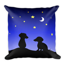 Load image into Gallery viewer, Dachshund Night Love - Square Pillow - WeeShopyDog