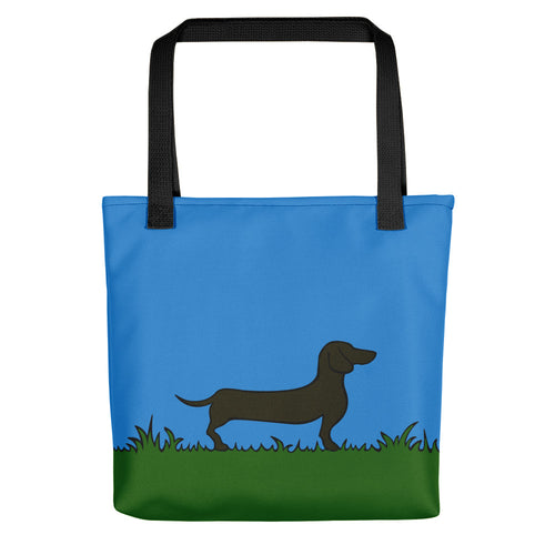 Dachshund Line Grass - Color Tote Bag - WeeShopyDog