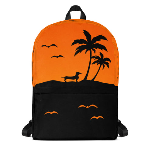 Dachshund Palm Tree - Backpack - WeeShopyDog