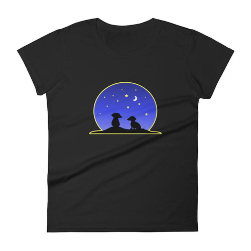 Dachshund Night Love - Women's T-shirt - WeeShopyDog