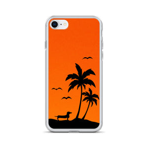 Dachshund Palm Tree - iPhone Case