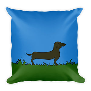 Dachshund Line Grass - Square Pillow - WeeShopyDog