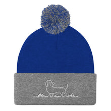 Load image into Gallery viewer, Dachshund Grass - Pom Pom Knit Beanie - WeeShopyDog