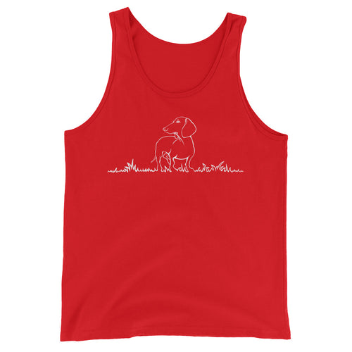 Dachshund Beauty Grass - Unisex/Men's Tank Top - WeeShopyDog