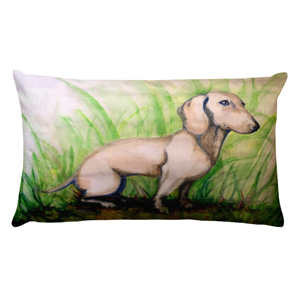 Dachshund Watercolor - Rectangular Pillow - WeeShopyDog