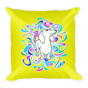 Dachshund Flower Color - Square Pillow - WeeShopyDog