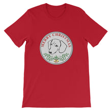Load image into Gallery viewer, Dachshund Merry Christmas - Unisex/Men's T-shirt - WeeShopyDog