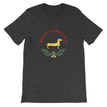 Load image into Gallery viewer, Dachshund Merry Christmas II - Unisex/Men's T-shirt - WeeShopyDog