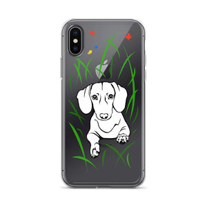 Dachshund Play Grass - iPhone Case - WeeShopyDog