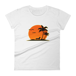 Dachshund Palm Tree - Women's T-shirt - WeeShopyDog