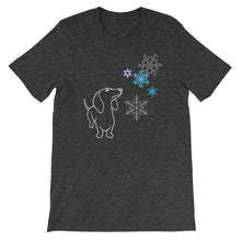 Load image into Gallery viewer, Dachshund Snowflakes - Unisex/Men's T-shirt - WeeShopyDog
