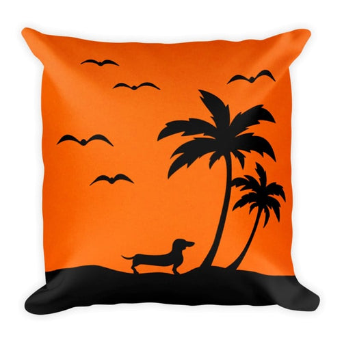 Dachshund Palm Tree - Square Pillow - WeeShopyDog