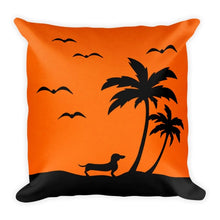 Load image into Gallery viewer, Dachshund Palm Tree - Square Pillow - WeeShopyDog