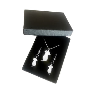 Dachshund Necklace and Dangle Earrings SET - Silver |Friend - WeeShopyDog