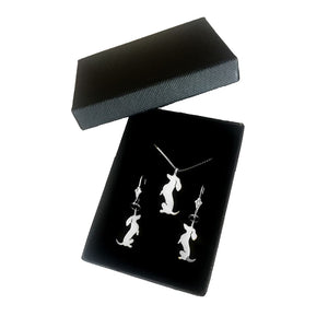 Dachshund Necklace and Dangle Earrings SET - Silver |Sit-up - WeeShopyDog