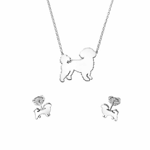 Shih Tzu Necklace and Stud Earrings SET - Silver - WeeShopyDog