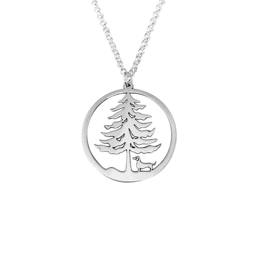 Dachshund Christmas Tree Pendant Necklace - Silver/14K Gold-Plated - WeeShopyDog