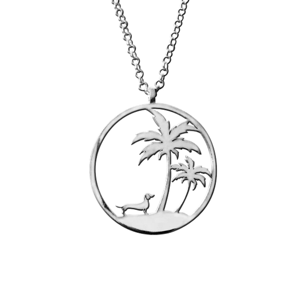 Dachshund Palm Tree Pendant Necklace - Silver/14K Gold-Plated - WeeShopyDog