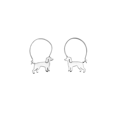 Poodle Hoop Earrings - Silver |Line - WeeShopyDog