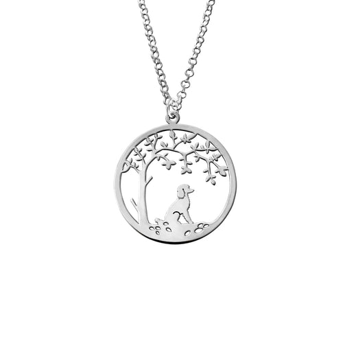 Poodle Necklace - Tree Of Life Pendant - Silver