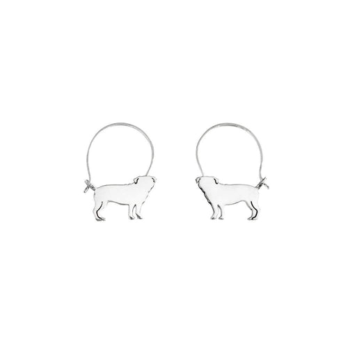 Pug Hoop Earrings - Silver - WeeShopyDog
