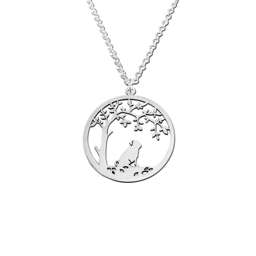 Pug Little Tree Of Life Pendant Necklace - Silver/14K Gold-Plated - WeeShopyDog