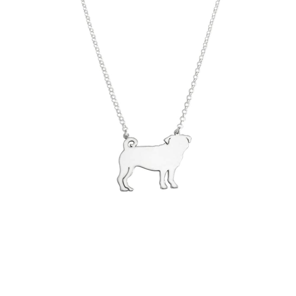 Pug Pendant Necklace - Silver/14K Gold-Plated |Line - WeeShopyDog