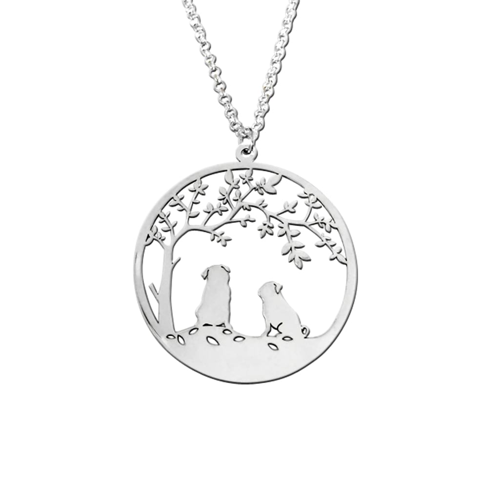 Pug Tree Of Life Pendant Necklace - Silver/14K Gold-Plated - WeeShopyDog