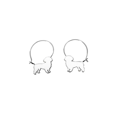 Shih Tzu Earrings - Silver Hoop - WeeShopyDog