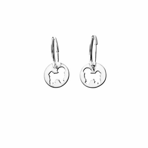Shih Tzu Earrings - Silver Charm Hoop - WeeShopyDog