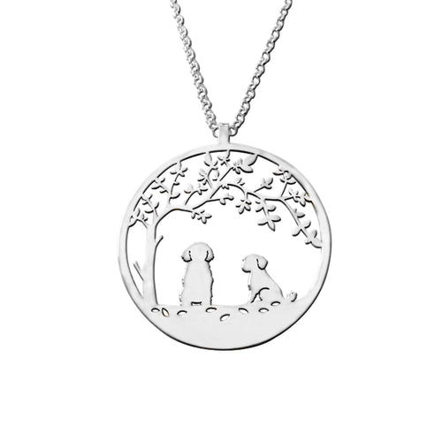 Shih Tzu Pendant - Silver Tree Of Life Necklace - WeeShopyDog