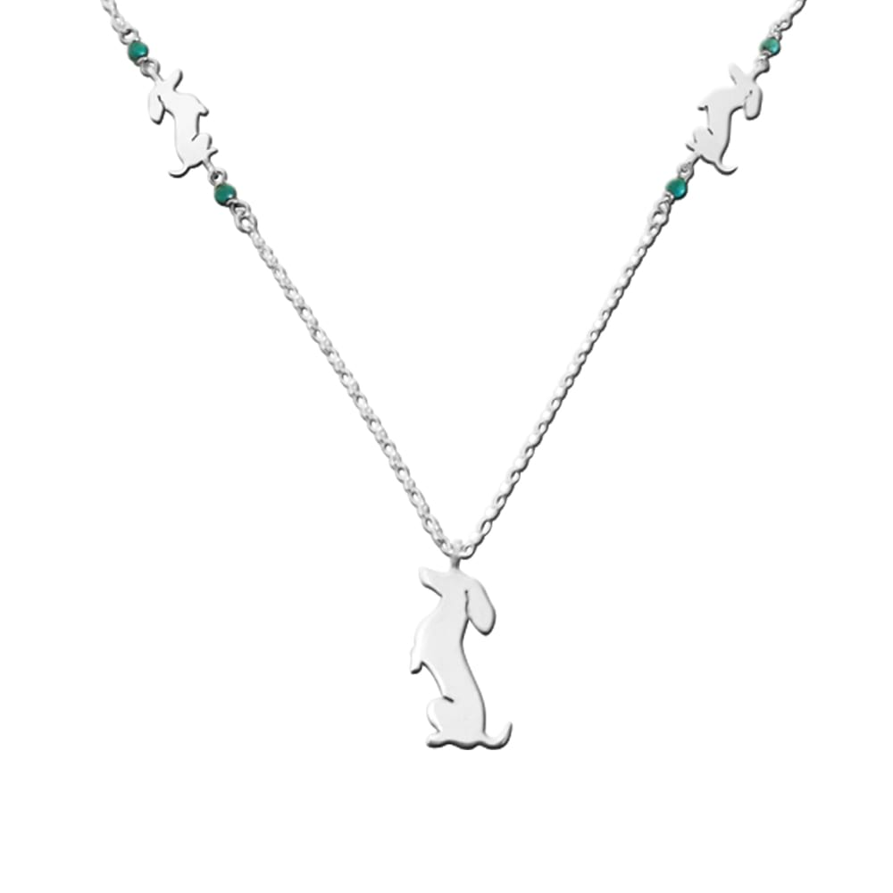 Dachshund Pendant Necklace- Silver Turquoise | Sit-up - WeeShopyDog