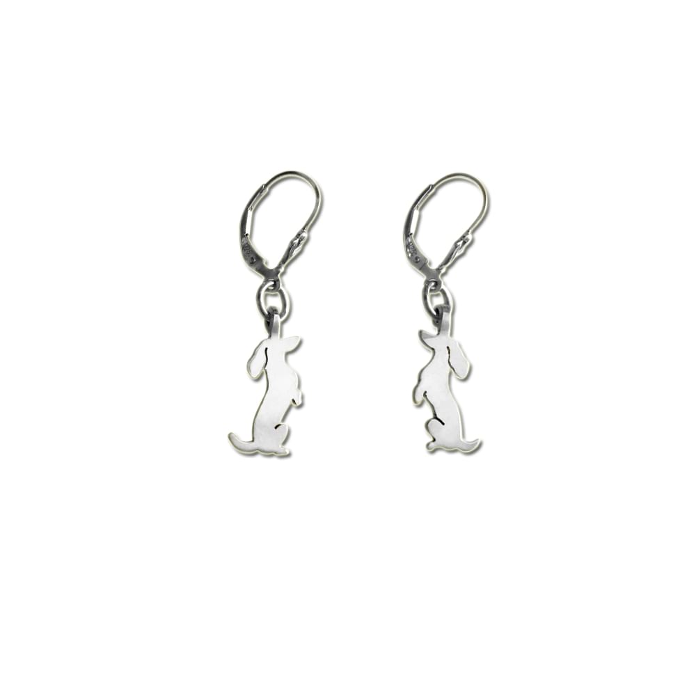 Dachshund Dangle Leverback Earrings - Silver |Sit-up - WeeShopyDog